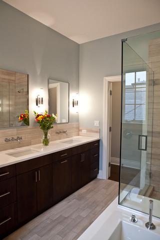 新古典风格客厅三层连体别墅简洁卧室整体淋浴房设计