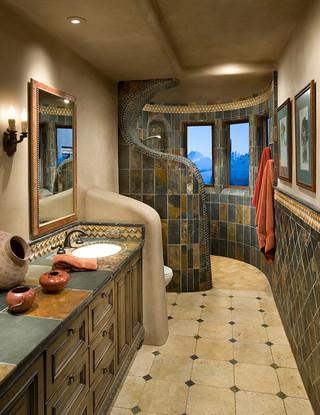 美式乡村风格卧室一层半小别墅浪漫婚房布置2014年卫生间装修图片