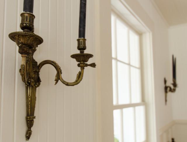 地中海风格卧室三层半别墅浪漫婚房布置卧室壁灯效果图