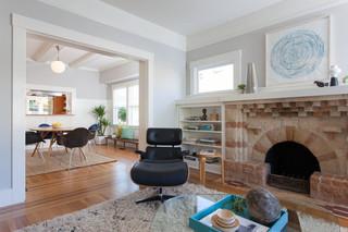 宜家风格一层半别墅可爱砖砌真火壁炉设计图图片