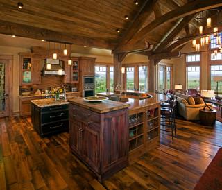 美式乡村风格一层别墅唯美整体厨房设计图