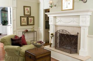 现代美式风格一层半别墅舒适砖砌真火壁炉设计图效果图