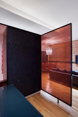 现代简约风格卧室公寓大气餐厅与客厅隔断装修图片