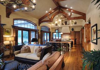 地中海风格300平别墅奢华客厅过道吊顶效果图