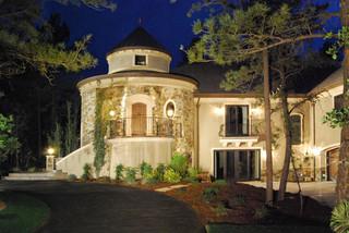 地中海风格室内三层双拼别墅现代奢华庭院鱼池设计图纸