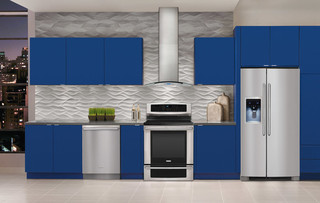 宜家风格客厅三层独栋别墅时尚蓝色效果图