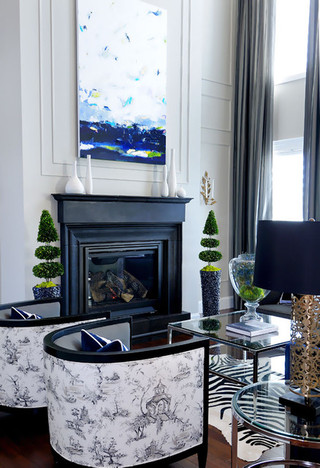新古典风格卧室一层半别墅客厅古典壁炉效果图