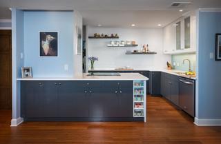 现代简约风格餐厅酒店公寓现代简洁小户型开放式厨房效果图