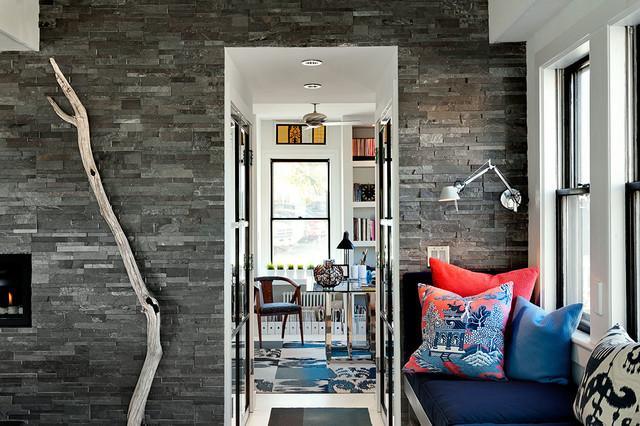 混搭风格客厅三层别墅及艺术家具欧式过道吊顶效果图