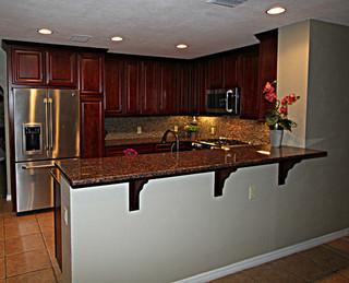 中式风格一层别墅及大气开放式厨房装潢