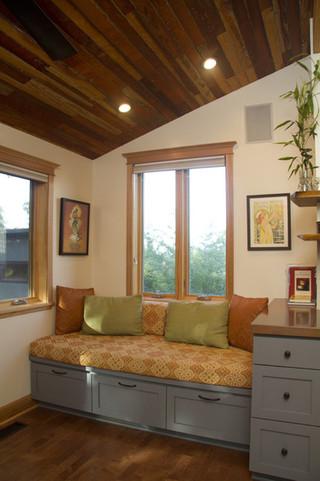 现代美式风格一层别墅温馨客厅单人沙发床图片