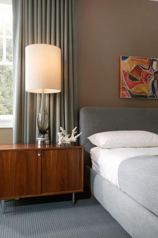中式风格一层半小别墅稳重灰色窗帘装修效果图