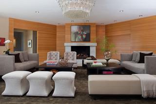 简约中式风格200平米别墅简单实用灰色窗帘装修效果图
