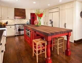中式风格别墅300平别墅舒适红色橱柜装修图片