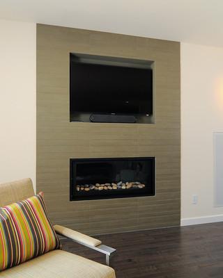 现代简约风格客厅三层连体别墅大方简洁客厅家庭影音室装修