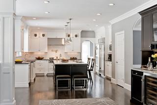美式风格客厅三层双拼别墅大气小户型开放式厨房装修效果图