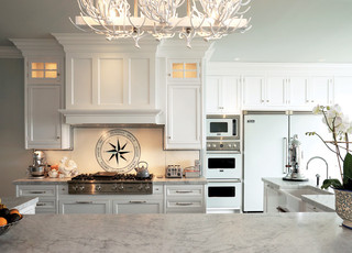 现代简约风格三层独栋别墅大气白色家居整体厨房吊顶装修图片