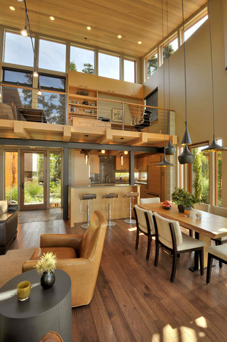 现代loft风格海边别墅浪漫婚房布置客厅吧台装修图片