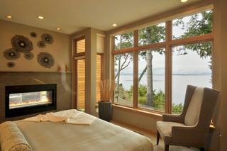 现代loft风格海边别墅浪漫卧室卧室背景墙效果图