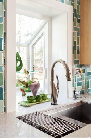 时尚家具绿色橱柜6平方厨房洗手台图片