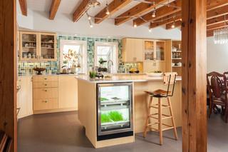 浪漫婚房布置原木色2014整体厨房客厅吧台隔断装修效果图