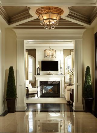 简欧风格厨房客厅豪华金色客厅隔断背景装修效果图