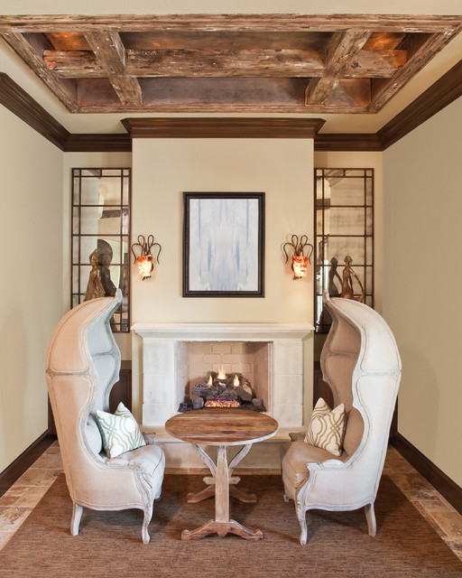 欧式风格客厅富裕型140平米以上砖砌真火壁炉设计图图片