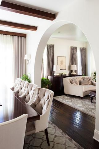 欧式风格卧室富裕型140平米以上餐厅和客厅隔断装修图片