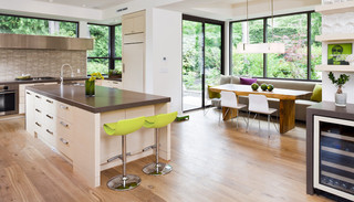 现代美式风格三层双拼别墅底楼阳光房橱柜设计图纸