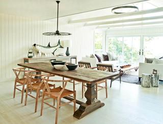 现代北欧风格乡村别墅艺术实木餐桌图片