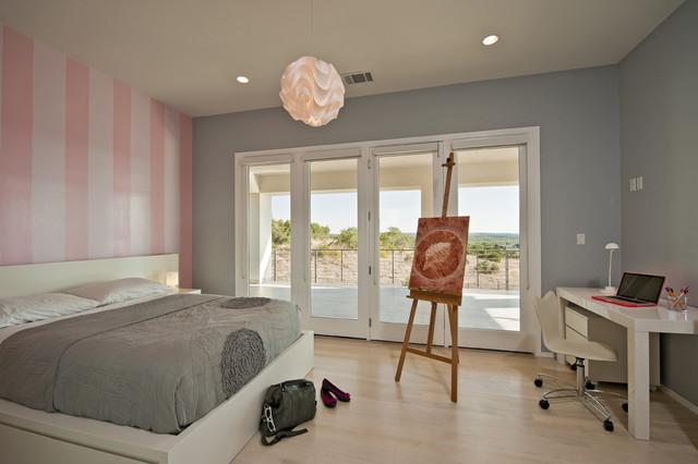 现代简约风格浪漫婚房布置冷色调卧室壁纸效果图