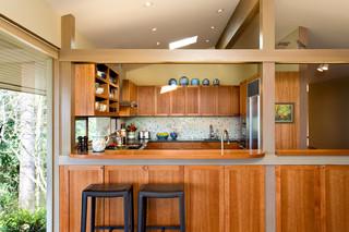 艺术原木色家居2014整体厨房吧台隔断装修效果图