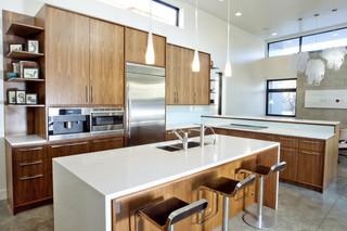 简洁卧室原木色家居开放式厨房餐厅吧台椅效果图