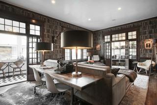 北欧风格大气黑色餐厅与客厅隔断效果图
