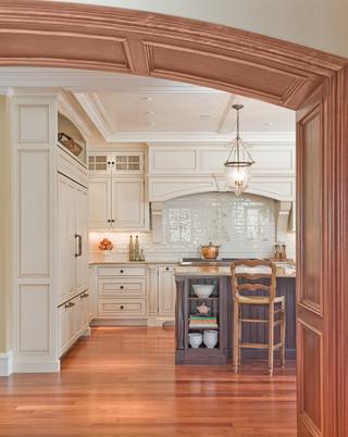 美式乡村风格卧室小型公寓原木色开放式厨房吧台设计图