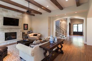 美式风格暖色调豪华型门厅鞋柜客厅过道吊顶设计