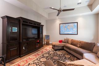 现代美式风格暖色调豪华型客厅过道吊顶设计图