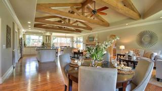 现代欧式风格温馨客厅100平米三室两厅欧式开放式厨房中式餐桌图片