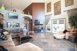 现代欧式风格富裕型140平米以上客厅过道吊顶效果图