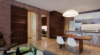 现代简约风格厨房经济型130平米三室两厅厨房和餐厅装潢