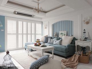 地中海风格别墅温馨沙发背景墙效果图