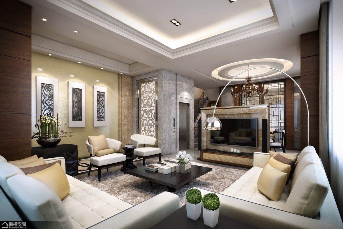 欧式风格别墅奢华客厅效果图