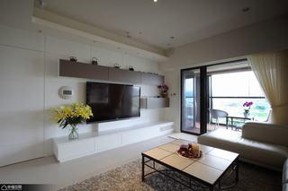 简约风格公寓舒适白色电视背景墙设计图
