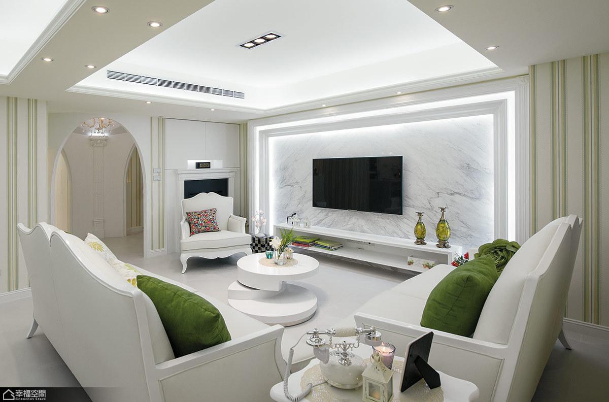 法式风格古典客厅旧房改造家装图片
