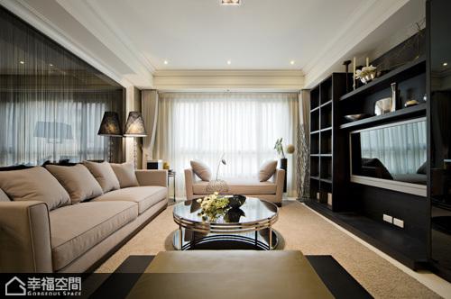 时尚清新北欧公寓小客厅黑白地垫装饰