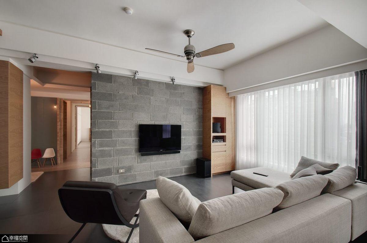 简约风格公寓时尚电视背景墙装修图片