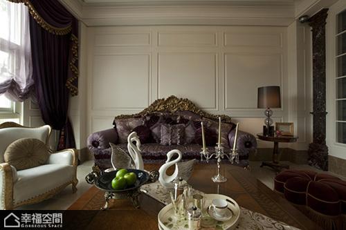 欧式风格别墅古典沙发背景墙效果图