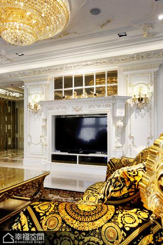 新古典风格别墅奢华电视背景墙装修效果图