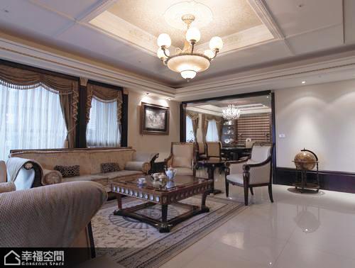 英伦风格古典豪华型沙发背景墙装修图片