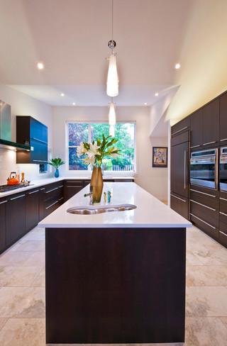 现代简约风格卧室富裕型140平米以上厨房餐厅客厅一体装修效果图